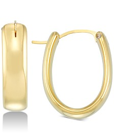 Signature Gold Diamond Accent Oval Hoop Earrings in 14k Gold Over Resin, Created for Macy's
