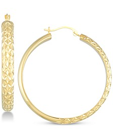 Diamond Accent Textured Round Hoop Earrings in 14k Gold Over Resin, Created for Macy's