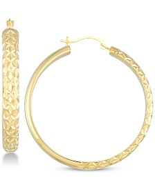 Signature Gold Diamond Accent Textured Round Hoop Earrings in 14k Gold Over Resin, Created for Macy's