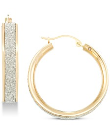 Signature Gold Diamond Accent Glitter Hoop Earrings in 14k Gold Over Resin, Created for Macy's