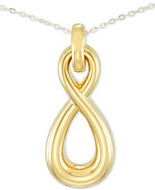 "Diamond Accent Infinity 18"" Pendant Necklace in 14k Gold Over Resin, Created for Macy's"