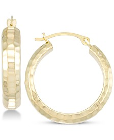 Signature Gold Diamond Accent Textured Hoop Earring in 14k Gold Over Resin, Created for Macy's
