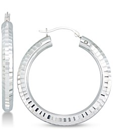 Diamond Accent Textured Hoop Earrings in 14k White Gold Over Resin, Created for Macy's