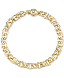 Diamond Accent Rolo Link Bracelet in 14k Gold Over Resin, Created for Macy's
