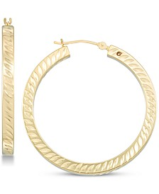 Diamond Accent Twist-Pattern Round Hoop Earrings in 14k White Gold Over Resin or 14k Gold Over Resin, Created for Macy's
