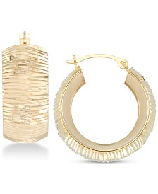 Signature Gold Diamond Accent Patterned Hoop Earrings in 14k Gold Over Resin, Created for Macy's
