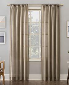 "Amalfi 54"" X 63"" Linen Blend Textured Sheer Rod Pocket Curtain Panel"