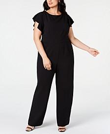 Trendy Plus Size Flutter-Sleeve Jumpsuit