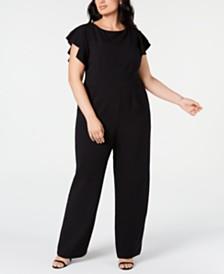 Vince Camuto Trendy Plus Size Flutter-Sleeve Jumpsuit
