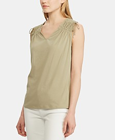 Lauren Ralph Lauren Tassel-Trim Sleeveless Cotton Top