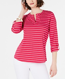 Charter Club Petite Striped Split-Neck Top, Created for Macy's