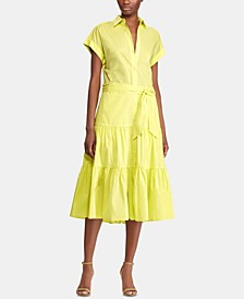 Tiered-Ruffle Belted Dress