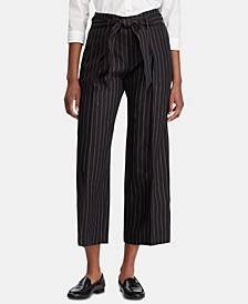 Stripe-Print Wide-Leg Pants