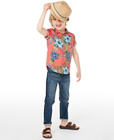 Epic Threads Little Boys Floral-Print Poplin Camp Shirt & Sutton Stretch Two-Tone Jeans, Created for Macy's
