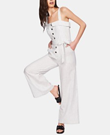1.STATE Striped Button-Front Jumpsuit