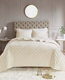 Leah King/California King 3-Pc. Tufted Faux Velvet Reverse to Charmeuse Coverlet Set
