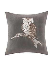 "Madison Park Owl Embroidered Suede 20"" x 20"" Square Pillow"