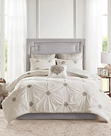 Malia Full/Queen 6 Piece Embroidered Cotton Reversible Comforter Set