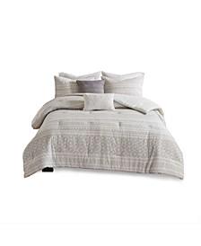 Lizbeth King/California King 5 Piece Cotton Clip Jacquard Comforter Set