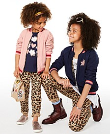 Toddler, Little & Big Girls Reversible Bomber Jacket, T-Shirts & Leopard-Print Jeans, Created for Macy's