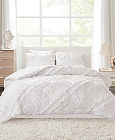 Kacie Full/Queen 3 Piece Solid Coverlet Set With Tufted Diamond Ruffles