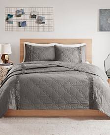 Intelligent Design Shyla Twin/Twin XL 2 Piece Solid Coverlet Set With Fringe