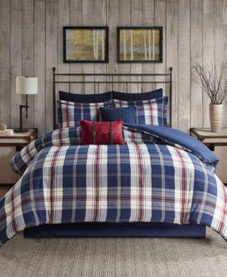 Ryland Full/Queen 4 Piece Oversized Plaid Print Comforter Set