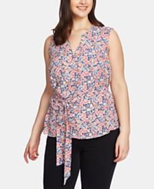 1.STATE Plus Size Floral-Print Wrap-Front Blouse
