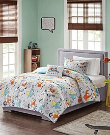 CLOSEOUT! Raff 4-Pc. Sloth Printed Comforter Sets