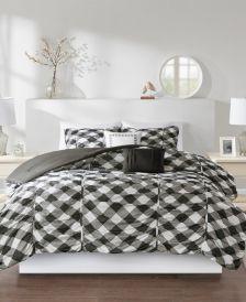 Kelsie Full/Queen 5-Pc. Ruched Gingham Print Comforter Set