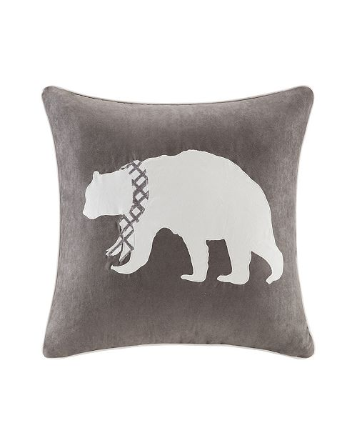 """Madison Park Bear Embroidered Suede 20"""" x 20"""" Square Pillow"""