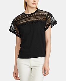 Lauren Ralph Lauren Lace-Trim Cotton Jersey Top
