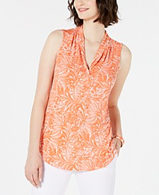 Sleeveless Printed Pleated-Neck Top, Created for Macy's