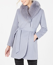 Fox-Fur-Collar Belted Wrap Coat