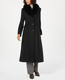 Fox-Fur-Collar Maxi Reefer Coat