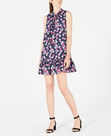 Maison Jules Printed Ruffle Tie-Neck Dress, Created for Macy's