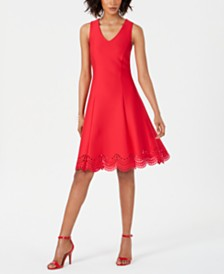 Donna Ricco Fit & Flare Lasercut-Hem Dress