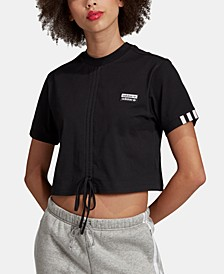 Cotton Cropped Ruched T-Shirt