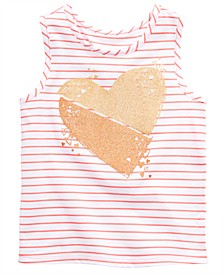 Toddler Girls Striped Heart-Print Tank Top, Created for Macy's