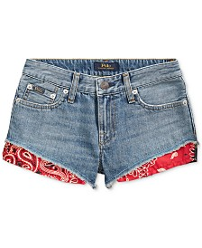 Polo Ralph Lauren Big Girls Bandanna-Trim Cotton Denim Shorts