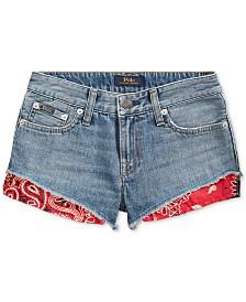 Polo Ralph Lauren Big Girls Bandanna-Trim Cotton Denim Shorts