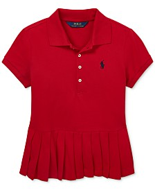 Polo Ralph Lauren Big Girls Pleated-Hem Stretch Mesh Polo Shirt