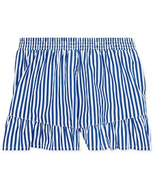 Toddler Girls Striped Ruffled Cotton Shorts