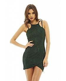 AX Paris Multi Strap Lace Overlay Bodycon Dress