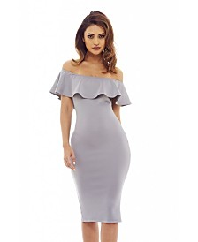 AX Paris Off the Shoulder Frill Bodycon Midi Dress