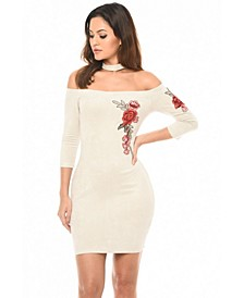 Suede Embroidered Bodycon Dress