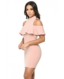 AX Paris Cold Shoulder High Neck Mini Dress