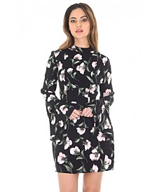 AX Paris Floral Mini Dress with Long Frill Bell Sleeves