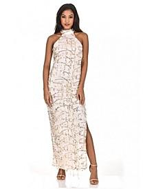 Cut in Neck Sequin Maxi Dress