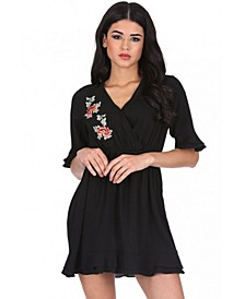 Floral Embroidered Frill Detail Dress